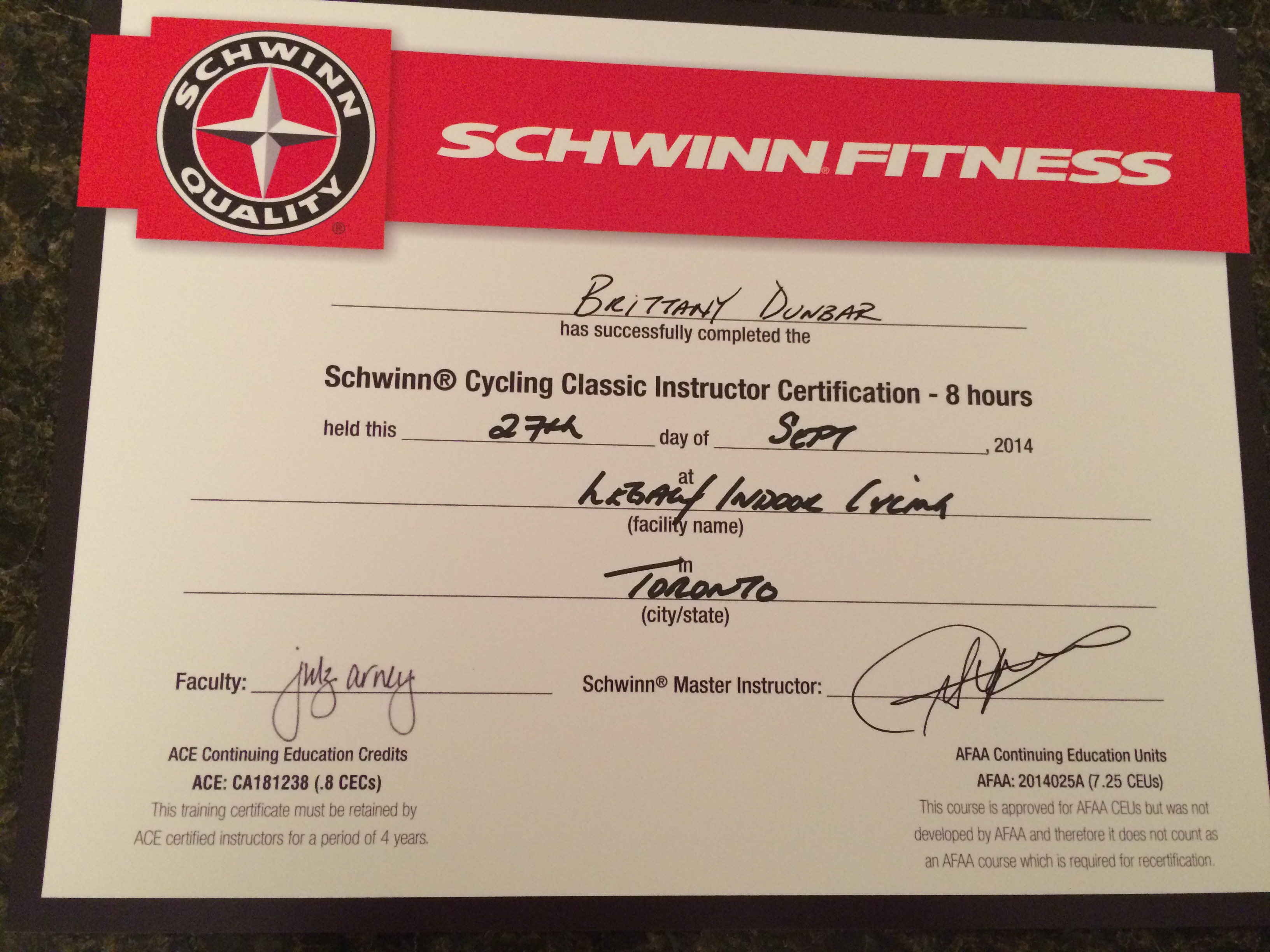 Now a certified spin instructor brittany dunbar certificate 1betcityfo Gallery